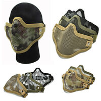Airsoft Steel Mesh Half Face Mask Tactical Protect Strike Paintball HalloweenFT