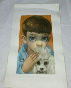 "Vtg Margaret Keane Print on Canvas Boy and His Dog Big Eye Boy 9.5"" x 16.75"""