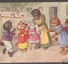 THIELE CATS,SCHOOL RECESS,TEACHER HELPS KITTEN,POSTCARD