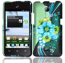 For Huawei H881C ACE Rubberized HARD Case Phone Cover Blue Green Flowers