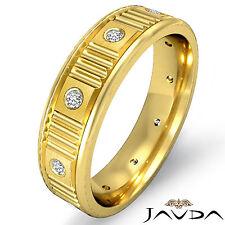 Diamond Eternity Wedding Band Men Matt Polish Finish Ring 14k Yellow Gold 0.13Ct