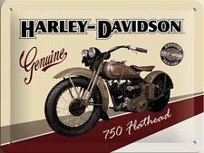 DECO : PLAQUE EN METAL EMAILLEE NEUVE 15 X 20 cm : HARLEY-DAVIDSON 750 FLATHEAD