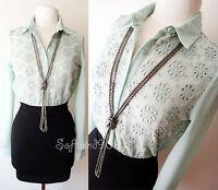 NEW Forever 21 Mint Green Eyelet Lace Overlay Blouse/Black Skirt Contrast Dress