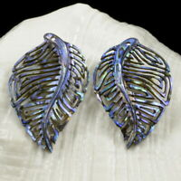 Multicolor Paua Abalone Shell Iridescent Carved Abstract Leaf Earring Pair 3.10g