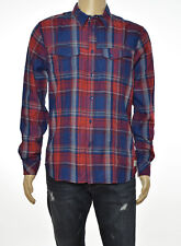 WILLIAM RAST Mens Red Blue Plaid Button Up Shirt M