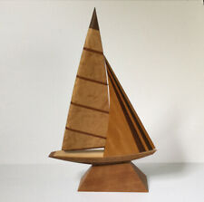 "Mark T Diebolt Signed LE Wood Specimen Inlay Sailboat Sculpture 16"" 100/250 1989"