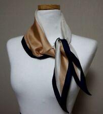 Handmade New 100% Silk Scarf Multi-Color Beige Navy Diamond-shaped 43X13 inch
