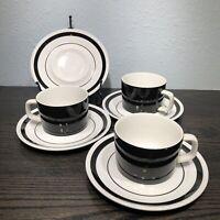 """Mikasa Mediterrania Black & White Tuxedo #4048  3) 6oz Cups & 4) 6 1/2"""" Saucers"""