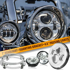 """7"""" LED Projector Daymaker Headlight & Passing Lights Fit Harley Road King FLHR"""