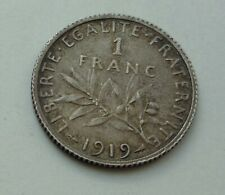 FRANCE One Franc Silver Coin 1919 High Grade