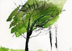 Green Tree  - Watercolour abstract Art painting unique gift (Print) ID:877