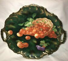 ZS&C Serving Plate/Platter Royal Munich Bavaria Gold Handles - Green & Cherries