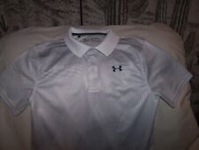 Boys Under Armour White/Gray Patterned Short Sleeve 3 Button Polo Shirt XLarge