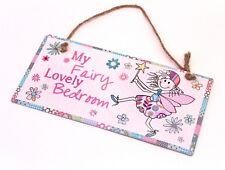 """Plaque de Porte Métal Fantaisie Enfant Fille Fée """" My Fairy Lovely Bedroom """""""