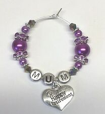 1X PERSONALISED HAPPY RETIREMENT  SILVER & PEARL WINE GLASS CHARM gift idea