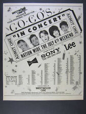 1982 The Go-Go's rock band Westwood One Radio Concert promo vintage print Ad