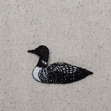 Embroidered Patch Iron on Applique - Water Fowl Black Loon - Single Facing Left