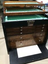 Vintage Antique Machinist WOOD BOX Tool CHEST CASE w Drawers GERSTNER & SONS USA