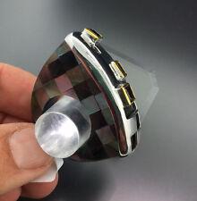 PERLMUT GRANAT Ring MODERNART Silber/vergoldet ausgefallenes Schachbrettdesign