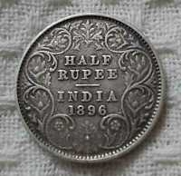 1896 QUEEN VICTORIA EAST INDIA COMPANY HALF RUPEE RARE SILVER COIN