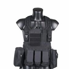 DLP Tactical RRV Chest Rig MOLLE Vest in Black with four pouches