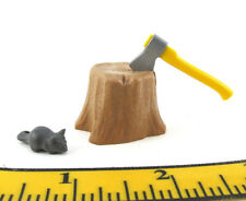 PLAYMOBIL~New~Tree Stump~Axe~Mouse~Forest~Lumberjack~Hunter~Camper