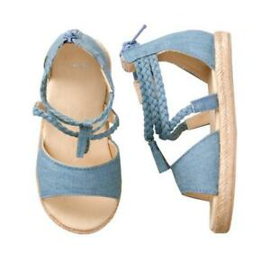 NWT GYMBOREE Chambray Espadrille Shoes Sandals Wedge Toddler Girls 5,6,7,8,9,10