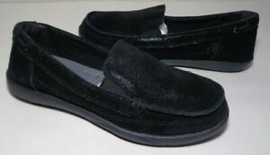 Crocs Size 6 WALU SHIMMER Black Leather Slip On Loafers New Womens Shoes