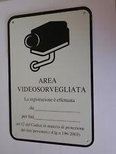 Cartello segnaletica placca in alluminio videosorveglianza mm 300X200