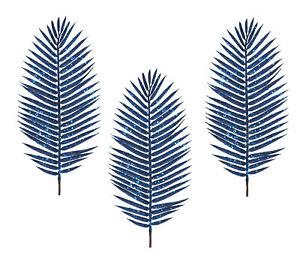 3 x Gisela Graham Navy Blue Palm Leaf Branch Stem Christmas Decoration 70cm