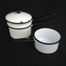 4 Pieces White With Black Trim 3 Cup Double Boiler and 2cup Sause Pan Enamelware