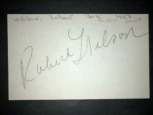 1958 DODGERS: Bob Wilson, SIGNED 3x5 Card (REA), D.1985
