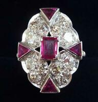 Stunning art deco platinum 1.3ct ruby and 1.28ct diamond elongated cluster ring