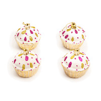 Luxury Christmas Tree Hanging Bauble Decorations - Glitter Cupcake Design