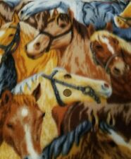 """Colorful Horse Print Fleece Fabric 3 Yards 60"""" Wide"""