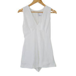 NWT C/MEO Collective White Playsuit V-Neck Zip Up Jumpsuit 100% Viscose Rayon