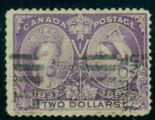 CANADA #62 $2.00 purple, used w/light roller cancel, VF, Scott $600.00