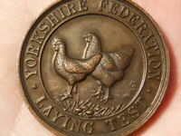 1933 Yorkshire Federation Egg Laying HENS CHICKENS Medal Bronze #Q27