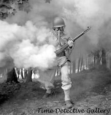 WWII Soldier in Gas Mask Training, Ft. Belvoir, VA - 1942 - Historic Photo Print