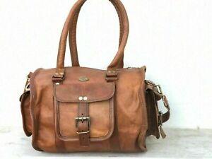"Goat Leather Brown Gym Duffle Travel Luggage Genuine Men Bag Bags Vintage 12"""