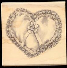 Inkadinkado rubber stamp Wedding Ring Pillow wood mounted, Love, Heart