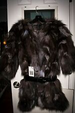 Womens Real Fox Fur Jacket Silver Womens size small