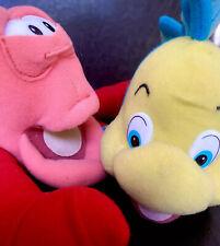 Walt Disney's The Little Mermaid Sebastian & Flounder Plush Stuffed Animals ~7�