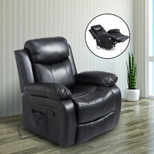 Heated Massage Sofa Chair Recliner Faux Leather Lounge w/ 8 Vibration Motors