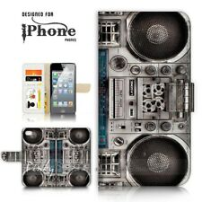 ( For iPhone 5 / 5S ) Wallet Case Cover P21056 Boom Box