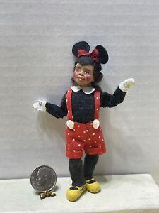 VTG Artist KNOX '97 Dark Skinned Girl Minnie Mouse Suit Dollhouse Miniature 1:12