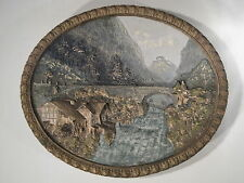 Ancien Plat Ovale Haut Relief Peint Main Numéroté  WILHELM SCHILLER & SOHN  WS&S