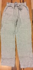 c and c california womens white blue striped high waisted paper bag linen pants