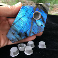 Natural labradorite Quartz smoking Pipe Crystal point reiki healing+5screen 1pc