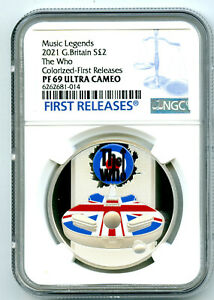 2021 2PD GREAT BRITAIN 1OZ SILVER PROOF THE WHO NGC PF69 UCAM FIRST RELEASES